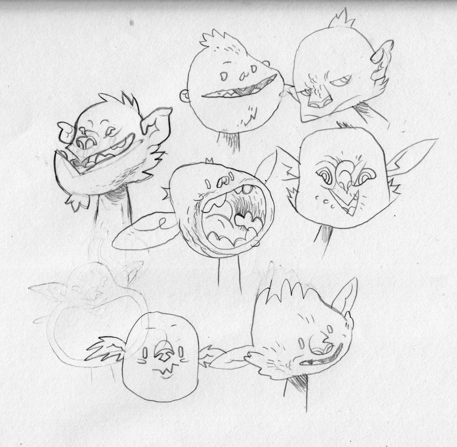 A range of goblin expressions.