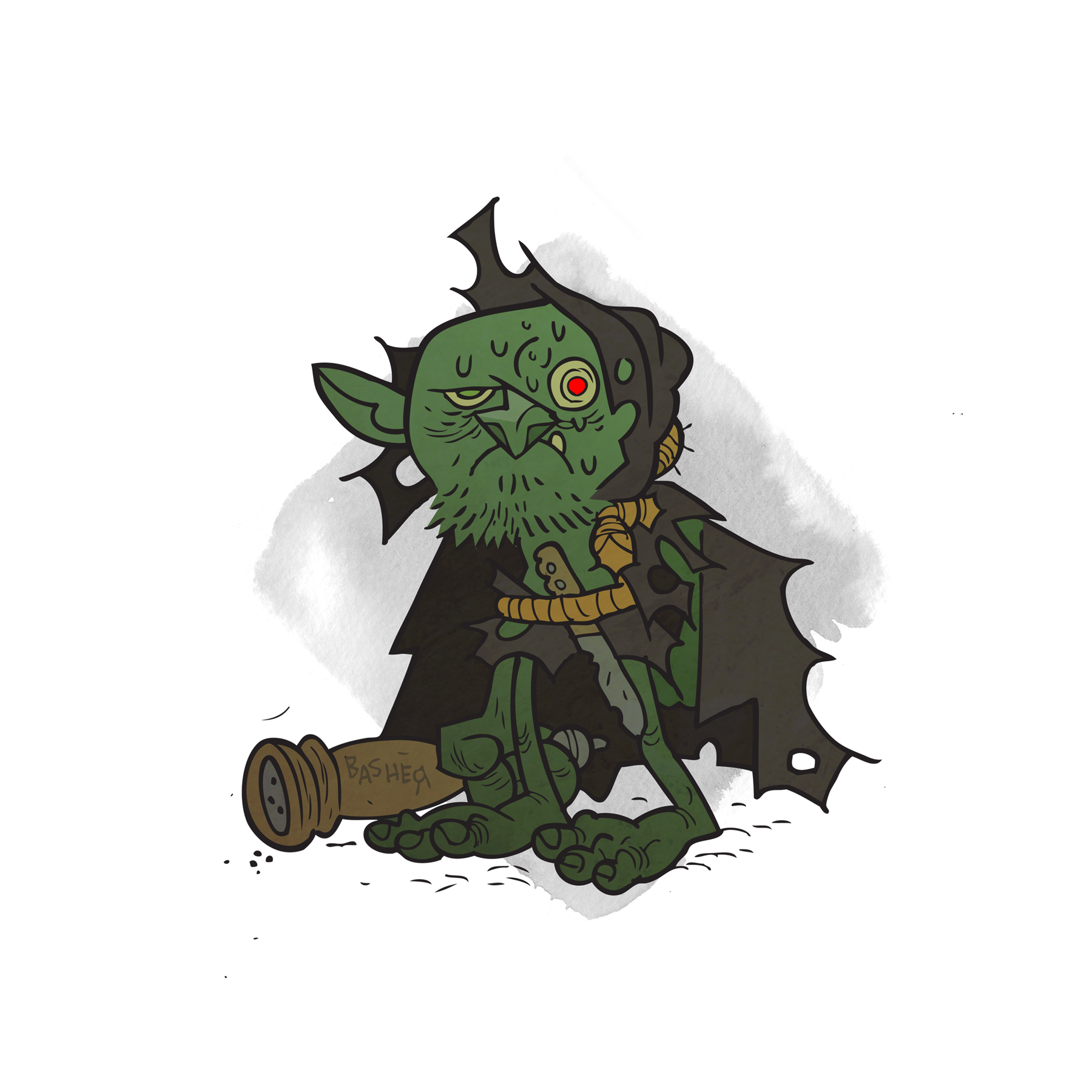 A goblin glimjack, armed with a vicious pepper mill.