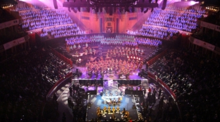 The massed ensemble at the Royal Albert Hall on 14 November 2017