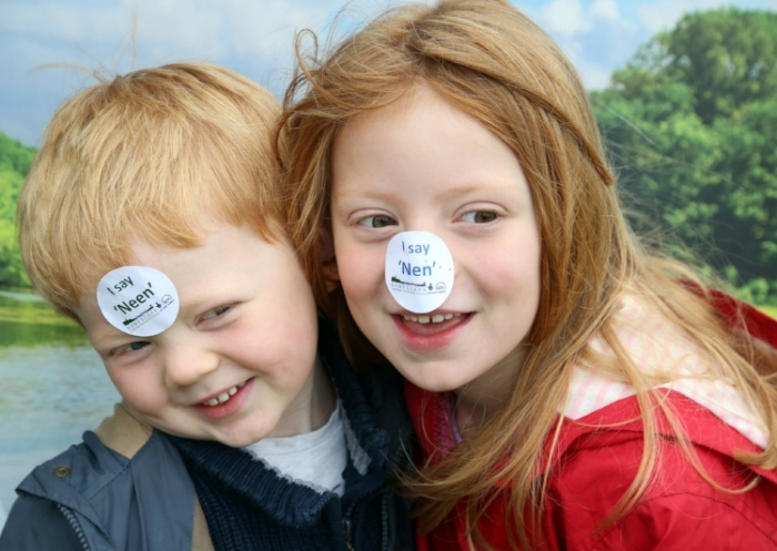 Two children use their voices at the Nene Valley Festival