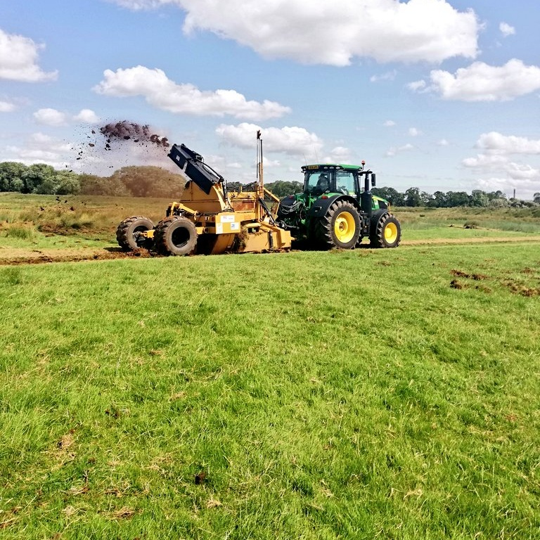 The rotary ditcher in action