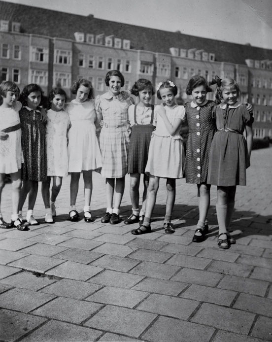 Anne Frank, second from left, with friends on her 10th birthday 12 June, 1939.  (from p. 2 of  All About Anne  © Anne Frank House)