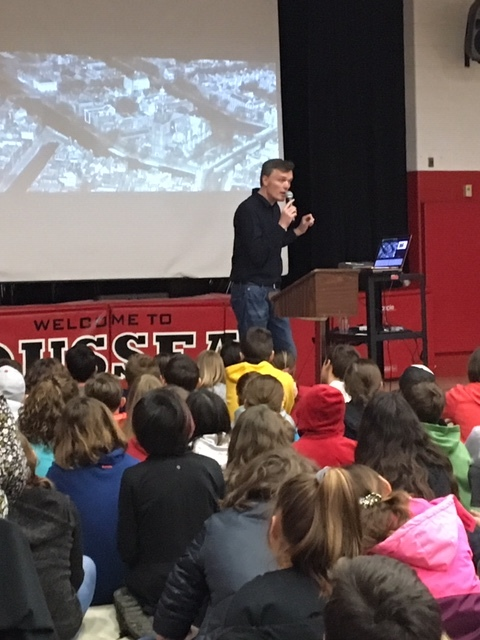 Menno Metselaar from the Anne Frank House museum in Amsterdam speaking to students in Hamilton, Ontario, Canada.