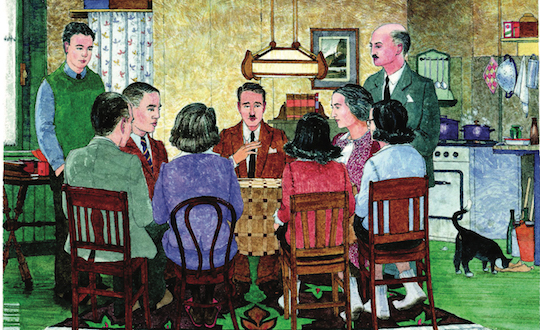 The eight residents of the hiding place in the Secret Annex, listening to news of the outside world from Victor Kugler, one of the helpers. (Illustration by Huck Scarry from p. 21 of  All About Anne  © Anne Frank House )