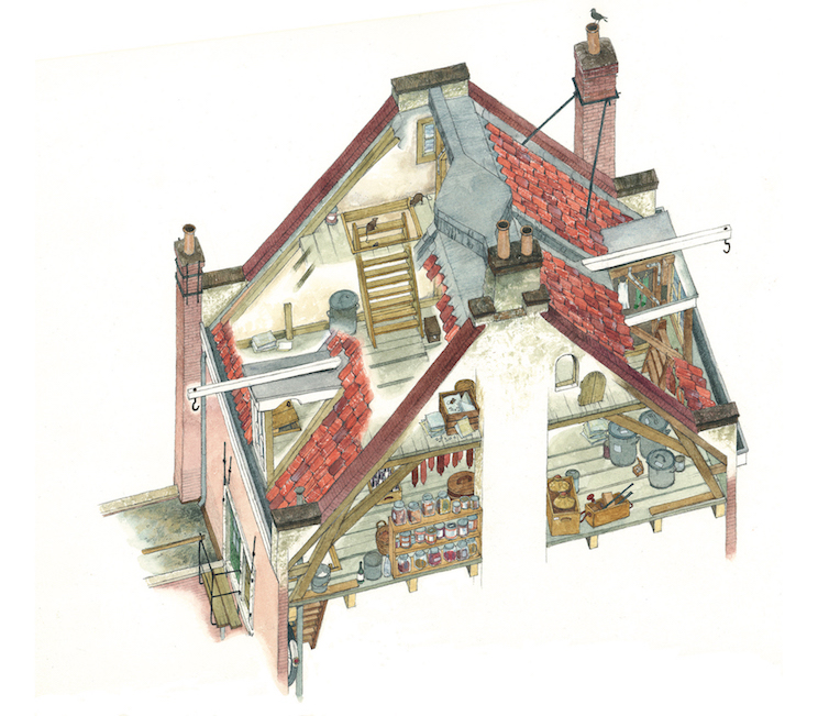 The attic above the Secret Annex. Anne would often go to attic alone, because the window there could be opened a little and she could get some fresh air.  (Illustration by Huck Scarry from p.24 of  All About Anne  © Anne Frank House )