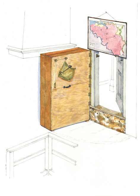 The bookcase and map that covered the doorway into the Secret Annex.  (Illustration by Huck Scarry from p. 21 of  All About Anne  © Anne Frank House)