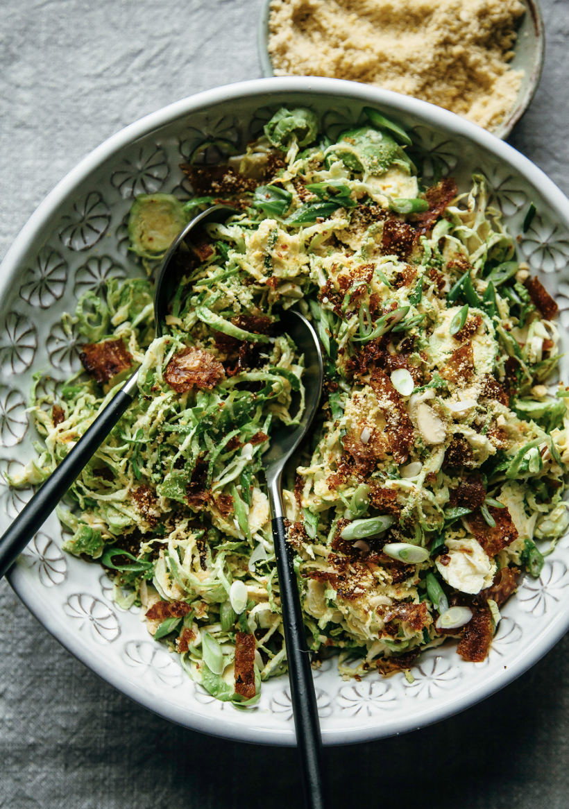 shaved sprout salad with almond park