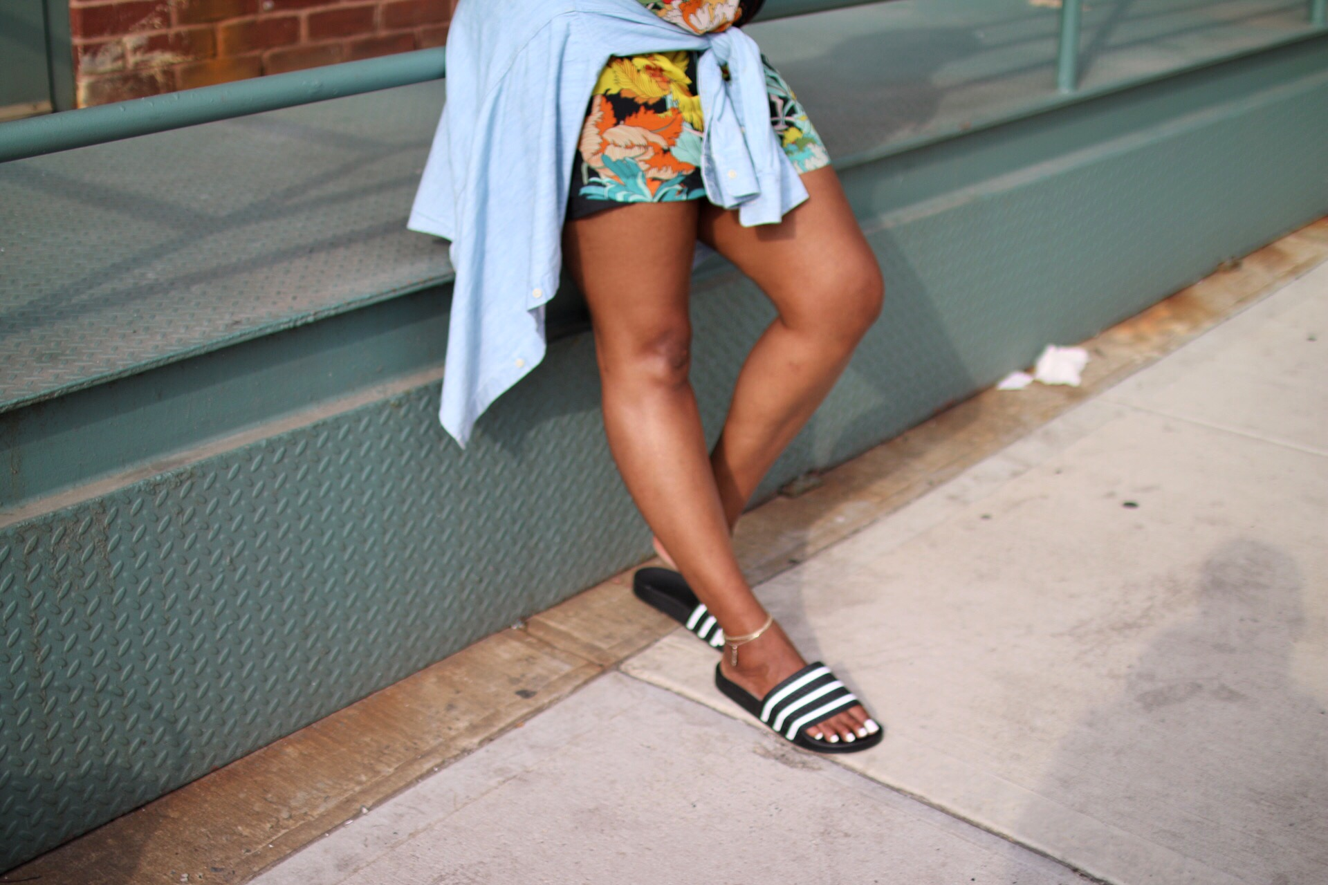 adidas slides + dress