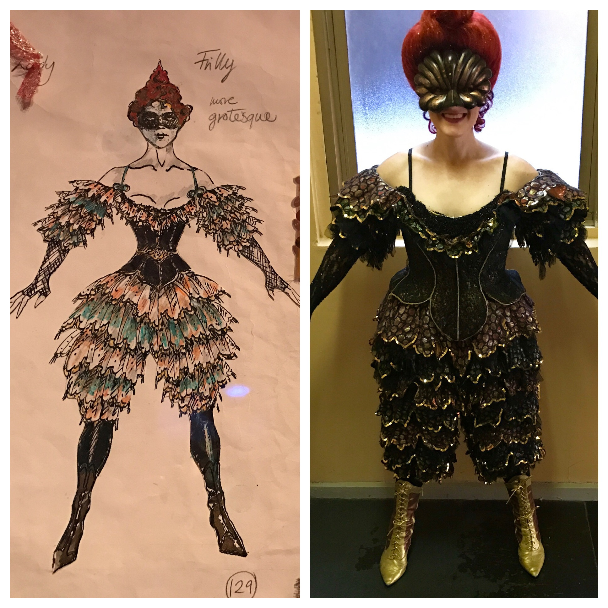 "Autumn Leaves costume for ""Masquerade"" (with original Maria Bjornson sketch), Phantom of the Opera, Broadway"