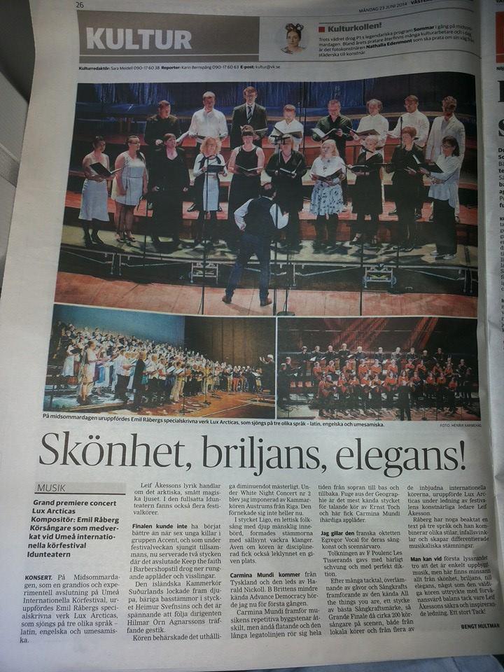 Kammerkor Sudurlands - Kultur pages of Vasterbottens Kuriren 22 June 2014