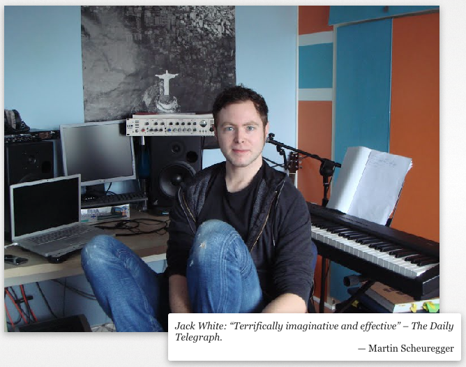 Jack White in his home studio (with Telegraph quote)