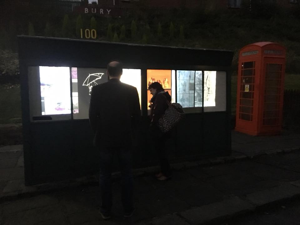 Enlighten Bury 2017 - Site Specific Installation (NOMAD) onto a bus stop at the Bury Transport Museum.