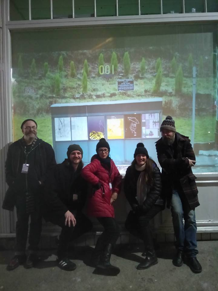 NOMAD installation at Spectra Festival of Light, Aberdeen, Scotland (from left to right - Lee Crocker, Matthew Wilkinson, Ann Carragher, Gina Warburton, Sean Payne).