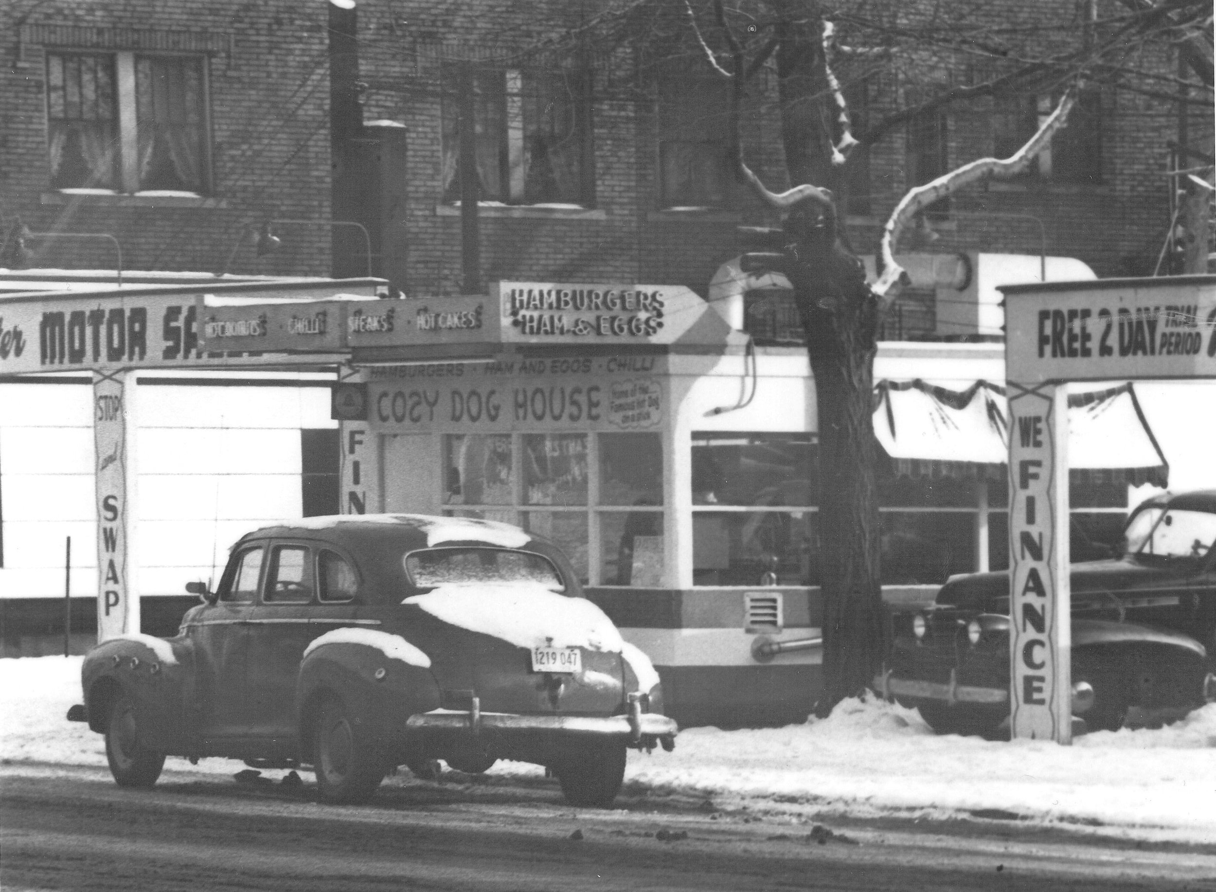 Cozy Dog Drive In First location 1946. South Grand & Sixth Street.