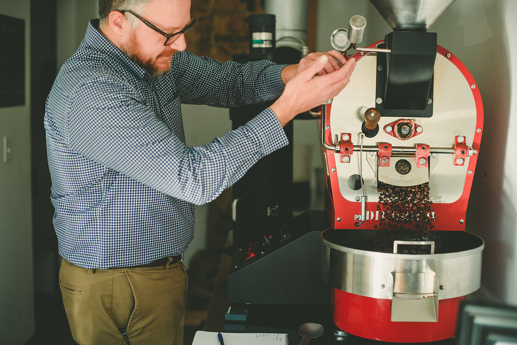 Brent roasting a micro batch of coffee beans.