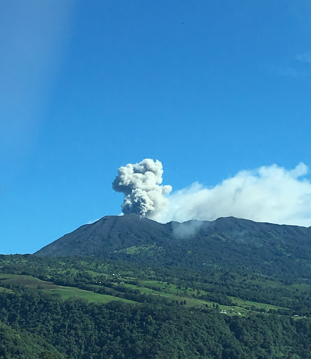 Turrialba Volcano erupting, 2016.