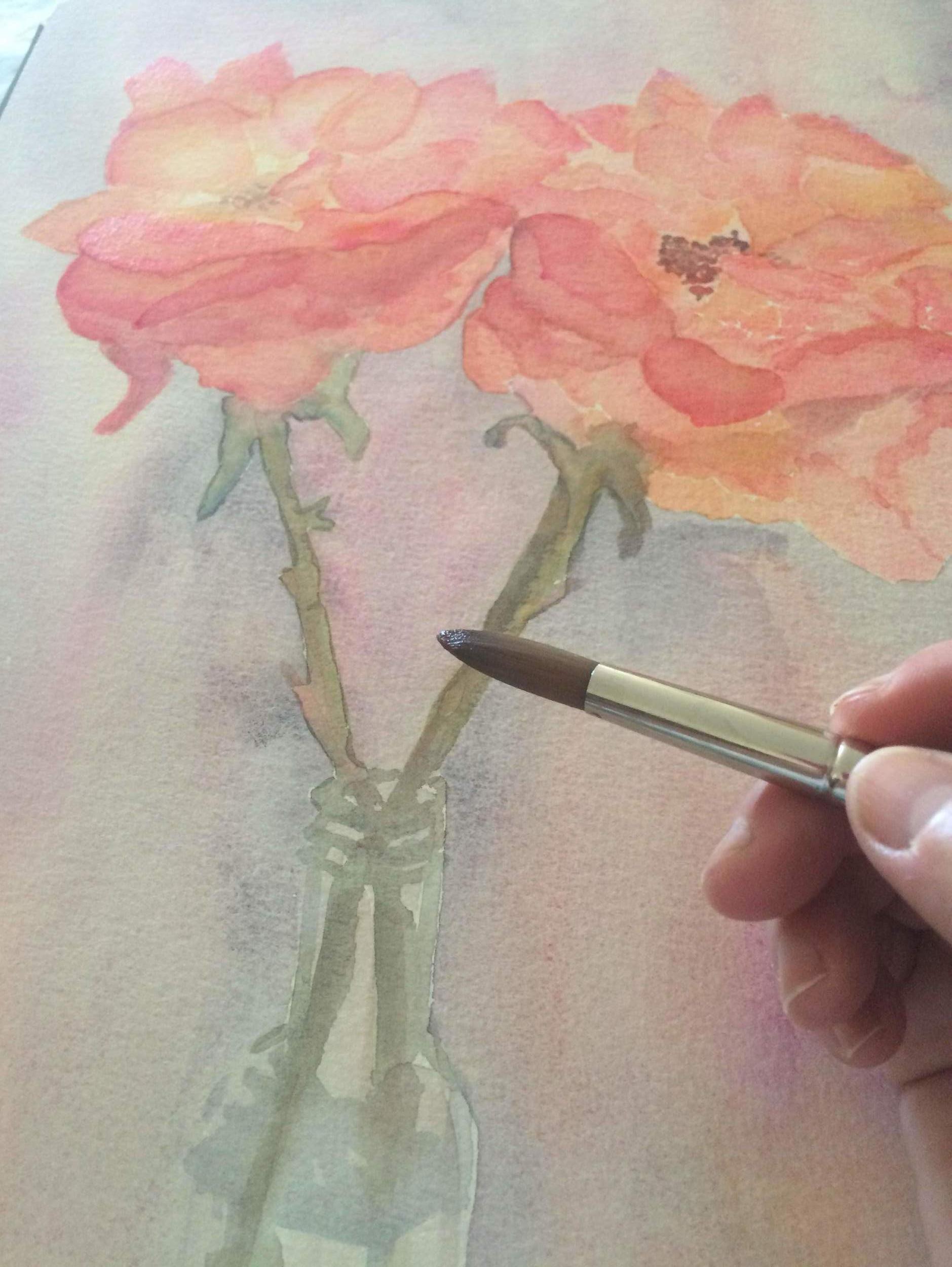 Carol Painting Roses from her California Garden 08-10-2016 (Selfie Photo)