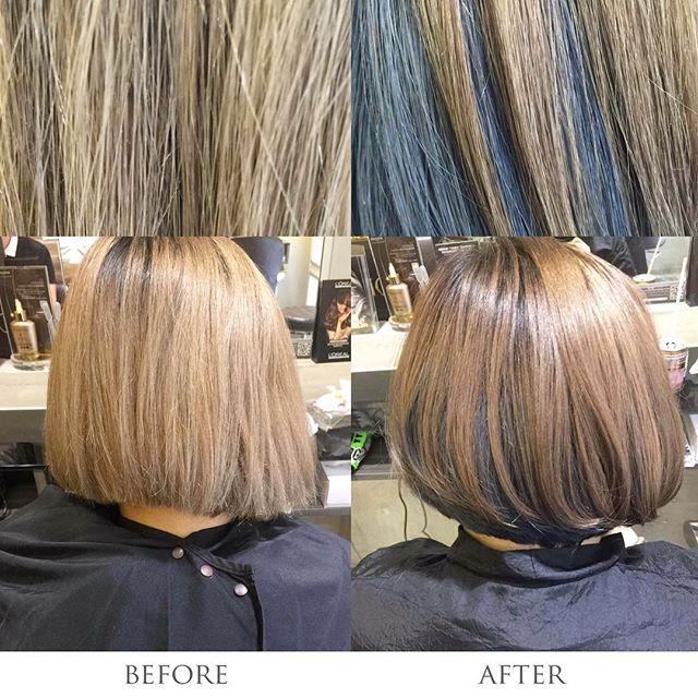 #AmourHairdo 今次客人過黎做color 之餘亦想做到以下既效果! 1) 想轉換一個比較對比較大的髮色  2) 想增加頭髮的光澤  Color: 啞啡色+冷灰色 Stylist: Mika Tam Technician: Bonnie Wong  Mika首先將頭髮隨意分區為上下2區上色。今次客人選擇了頭頂部分做啞啡色,下半部份就以冷灰色來嘗試形成對比,所以採用Fiole既8GP做個帶少少warm既啞啡色,因為太ash tone做唔到客人心目中既光澤感。  而冷灰就揀左Fiole既BV8放係下半部份。 最後Finishing我地用髮尾油搽係髮中至尾亦都可以增加番光澤感!  #salon #salonhk #hksalon #hair #hairstyle #hairdo #hairdresser #haircare #hairtreatment #treatment #color #HairColour #olaplex #loreal #lorealprofessionnel #haircut #stylist #hairstylist #hkstylist #wanchai #before #after
