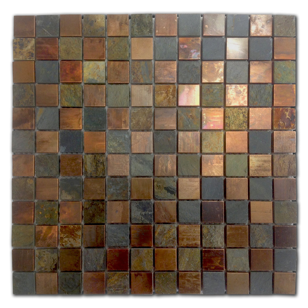 Slate And Copper Square Mosaic Metal Tile Tech