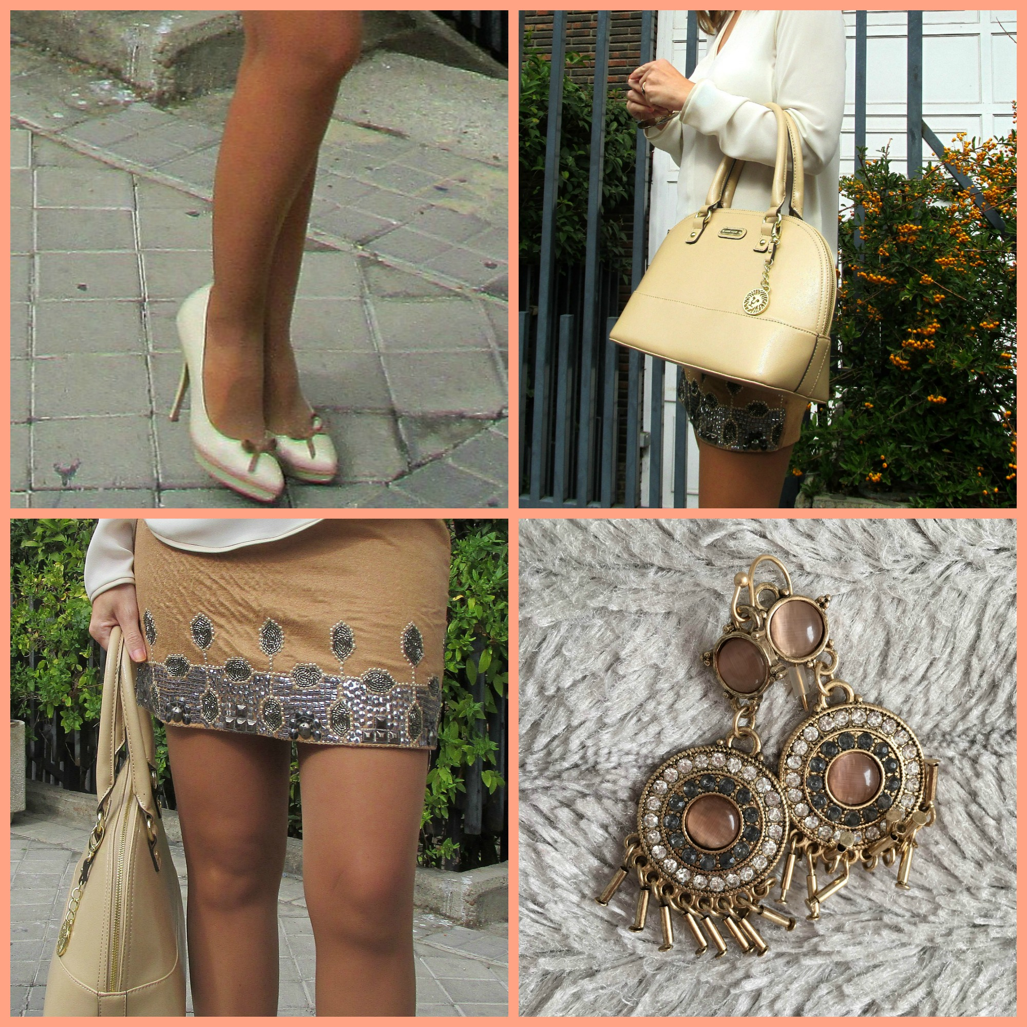 Camel skirt collage fashion blog