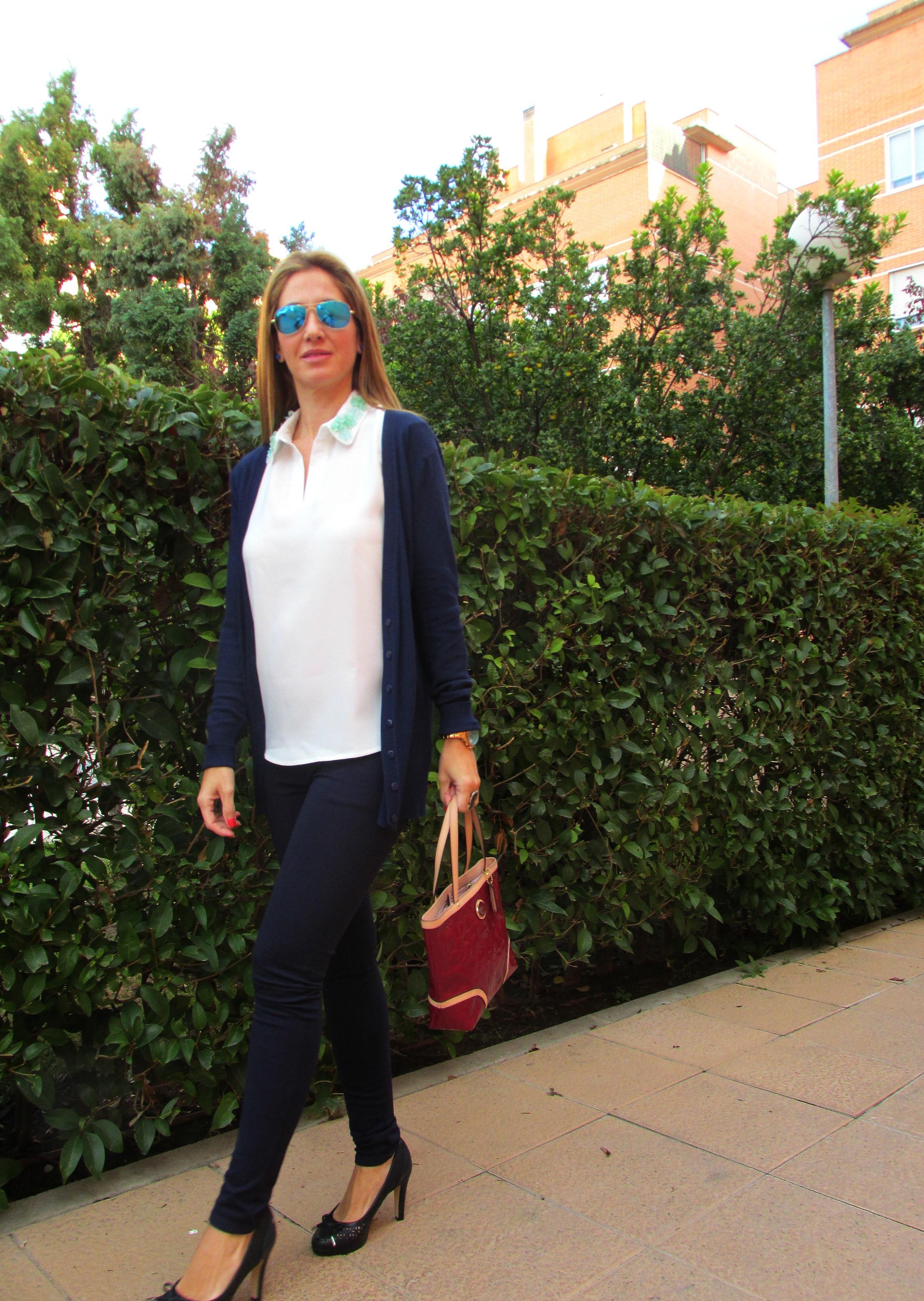 Navy blue basics fashion blog 1