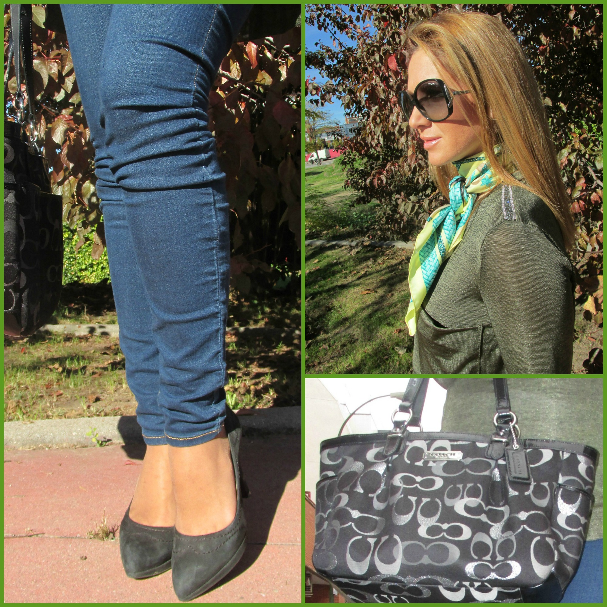 Jeans: MAMA SLIM FIT H&M (Fall/Winter ´16); Bag: COACH; Green top: STRADIVARIUS (Fall/Winter ´16); Scarf: H&M; Sunglasses: VOGUE; Shoes: MARIAN