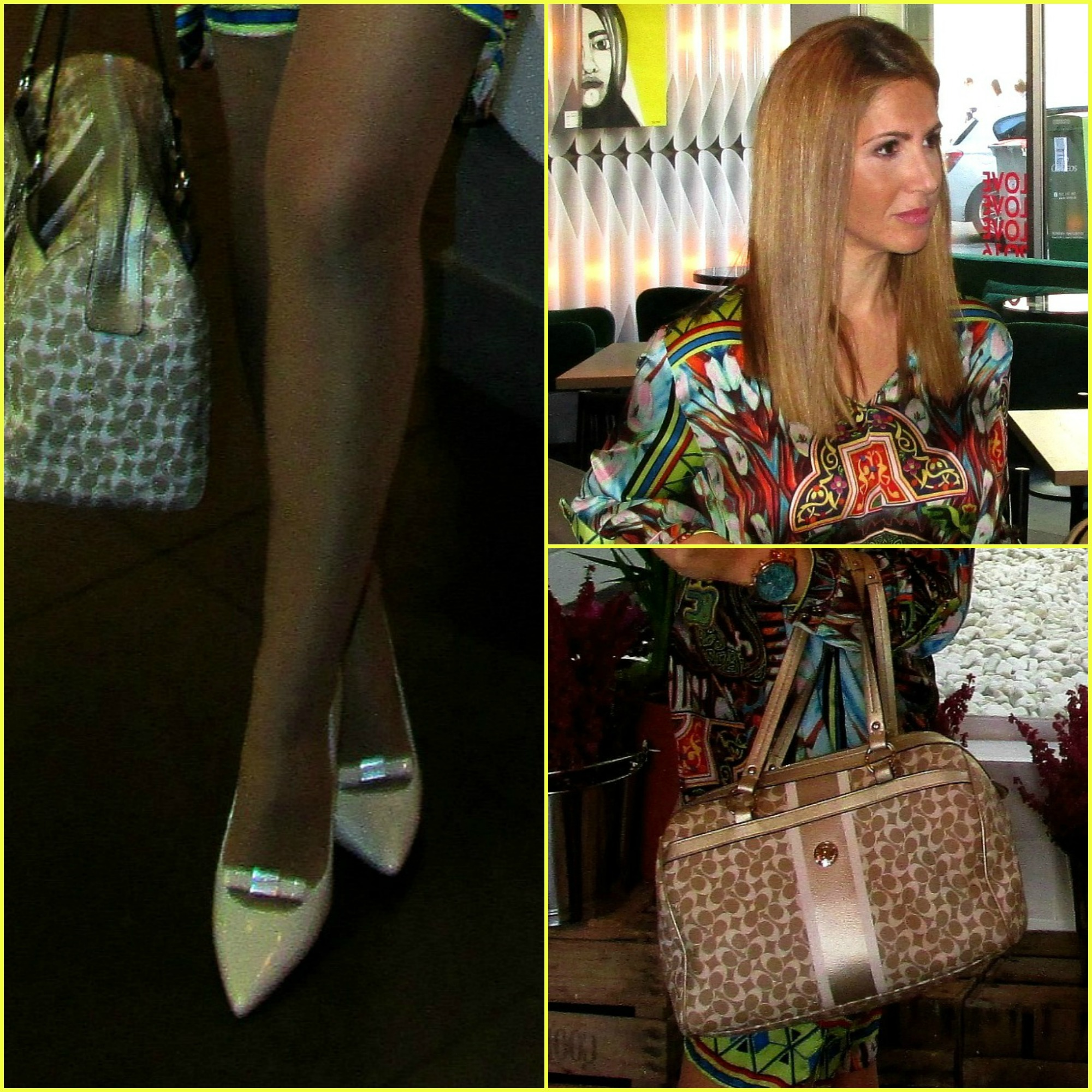 Dress: COORLEONE CO;Sunglasses: VOGUE; Bag: COACH; Ring: SWAROVSKY;Swatch: GUESS;Shoes: NINE WEST;