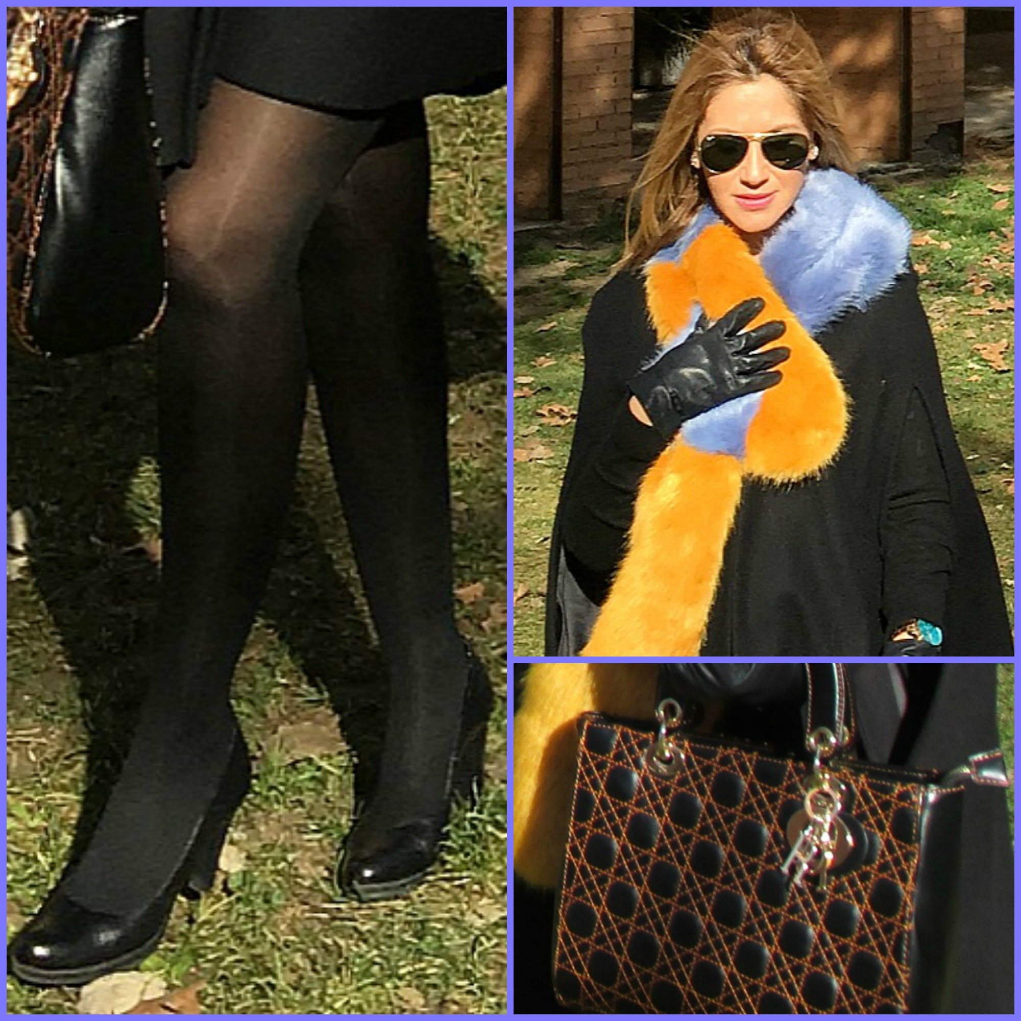 Cape: ZARA (old); Stole: ZARA (Winter 2016-2017); Handbag: DIOR; Shoes: CREMADES; Swatch: GUESS; Sunglasses: RAYBAN;