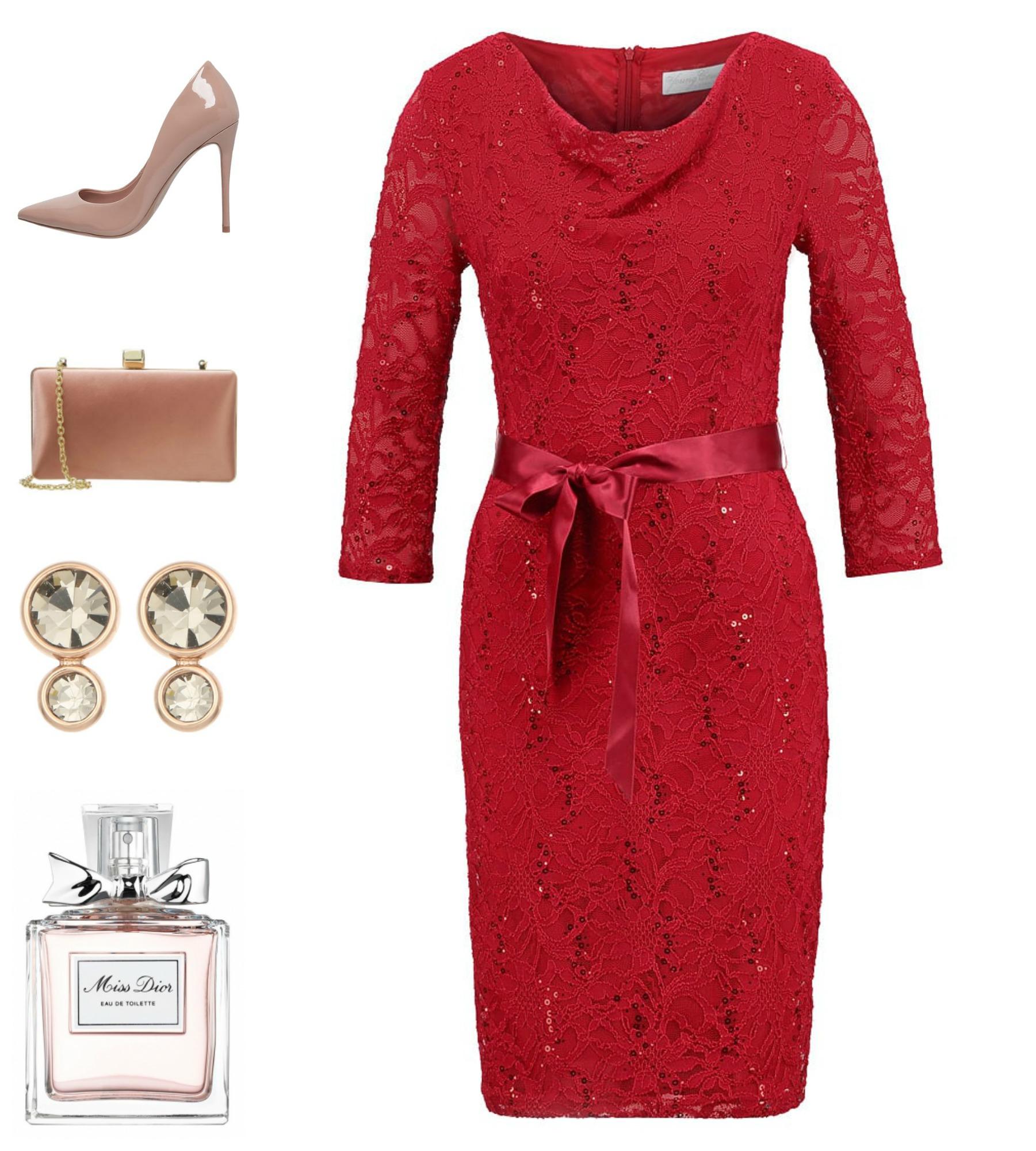 Red is a safe bet and I would choose nude color for the accessories/ El rojo es una apuesta segura y yo elegiría el color nude para los complementos.