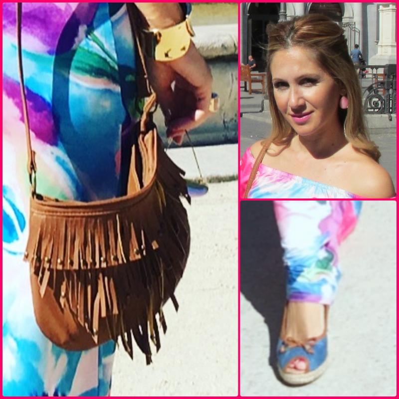 Dress: LIGHTINTHEBOX; Wedges: CABRERA; Earrings and Bracelet: GOLDEN & CO;Sunnies: RAY-BAN;