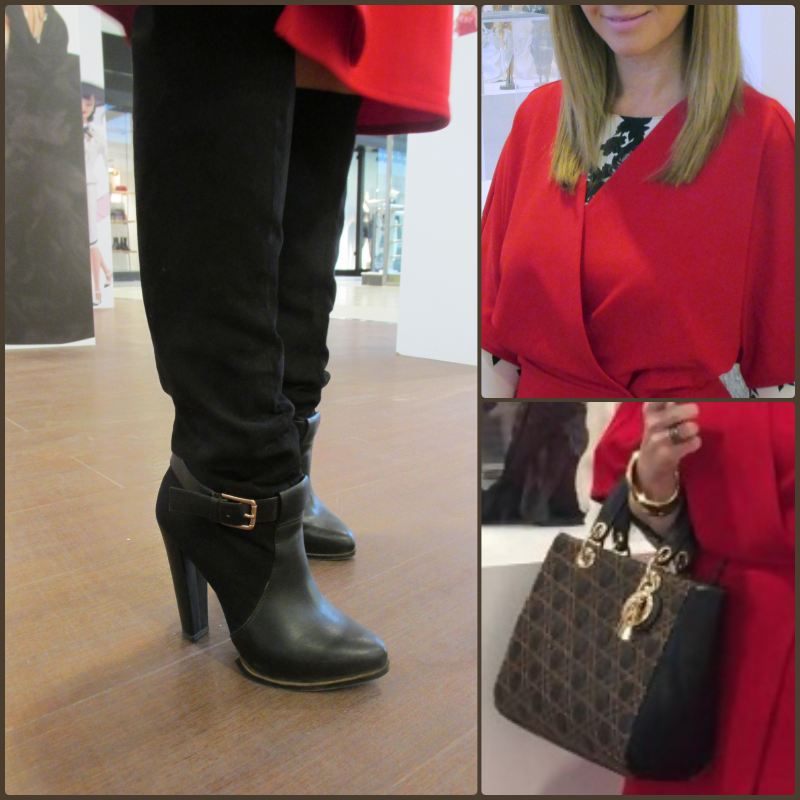 OUTFIT DETAILS: Boots: MANGO (old); Bag: DIOR; Red dress: MANGO (Au/W '17-'18); Oriental dress: PRIMARK (old); Bracelet: GOLDEN & CO;