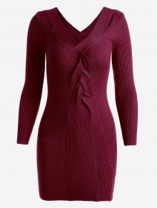 Beautiful  sweater dress  in red wine/ Precioso  vestido sweater  en color vino.