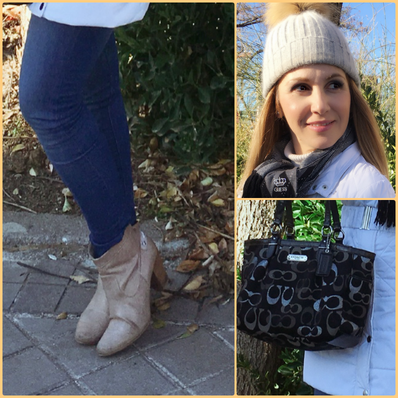 OUTFIT DETAILS: Pants: ZARA (old); Booties: OLIVER; Scarf: Guess; Bag: COACH; Coat: BEBE;