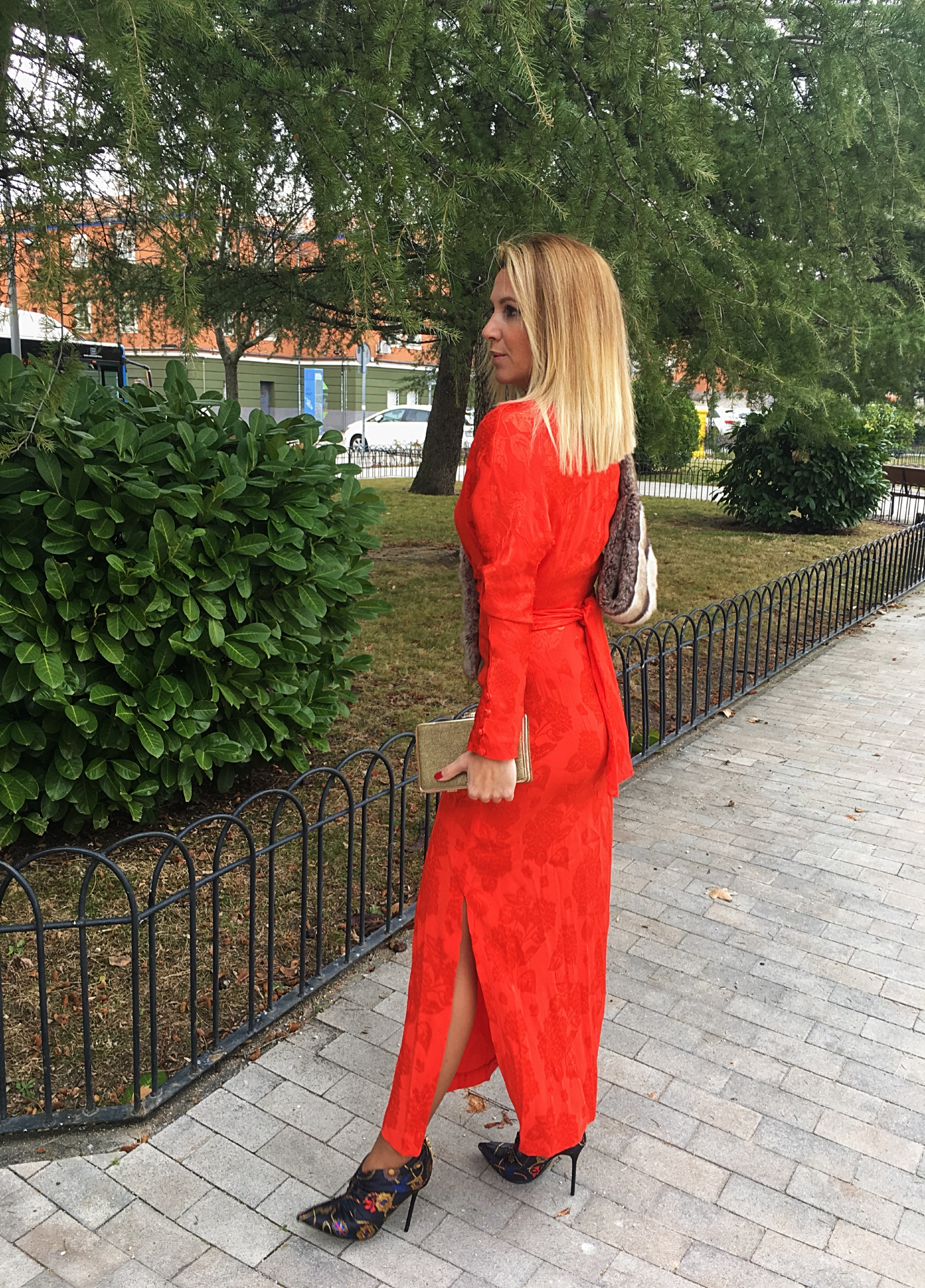 red vivid dress