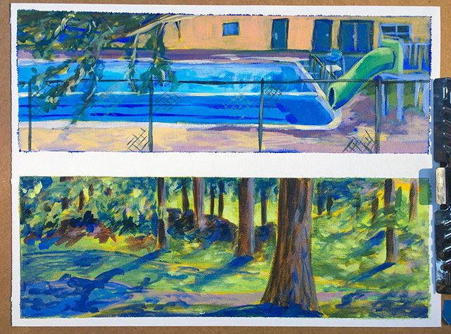 Two little scenes from my neighborhood park. First time painting there, certainly not the last. . . . #painting #acrylicpainting #pleinair #pool #summer #park #pdxartist #seportland #crestonpark