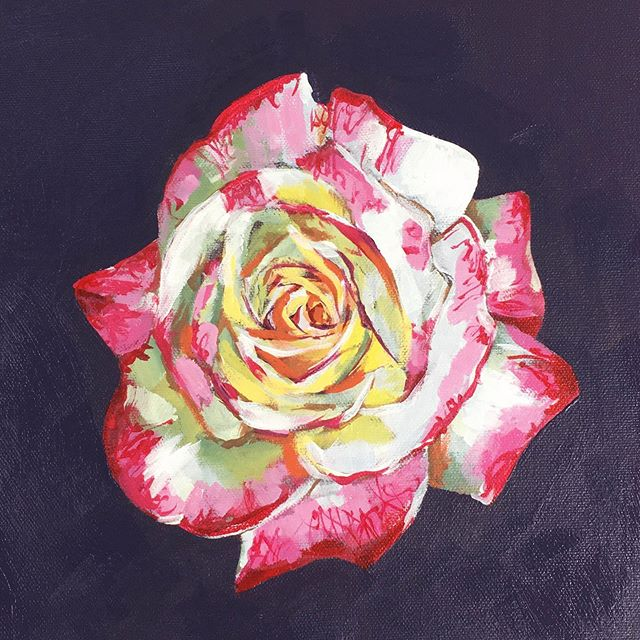 Rose from my garden, take 2. . . . #painting #acrylicpainting #rose #rosepainting #flowerpainting #floral