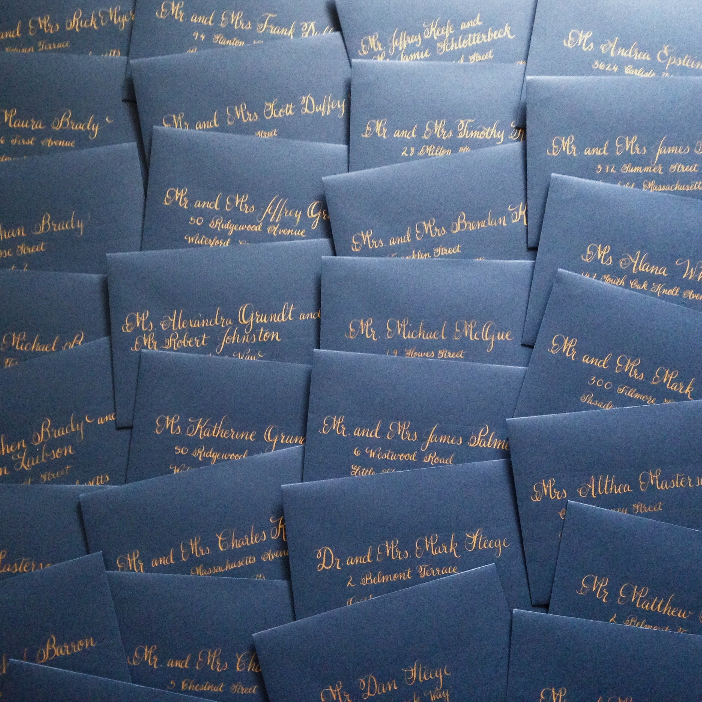 Navy envelopes with gold calligraphy :: Opaline Lettering