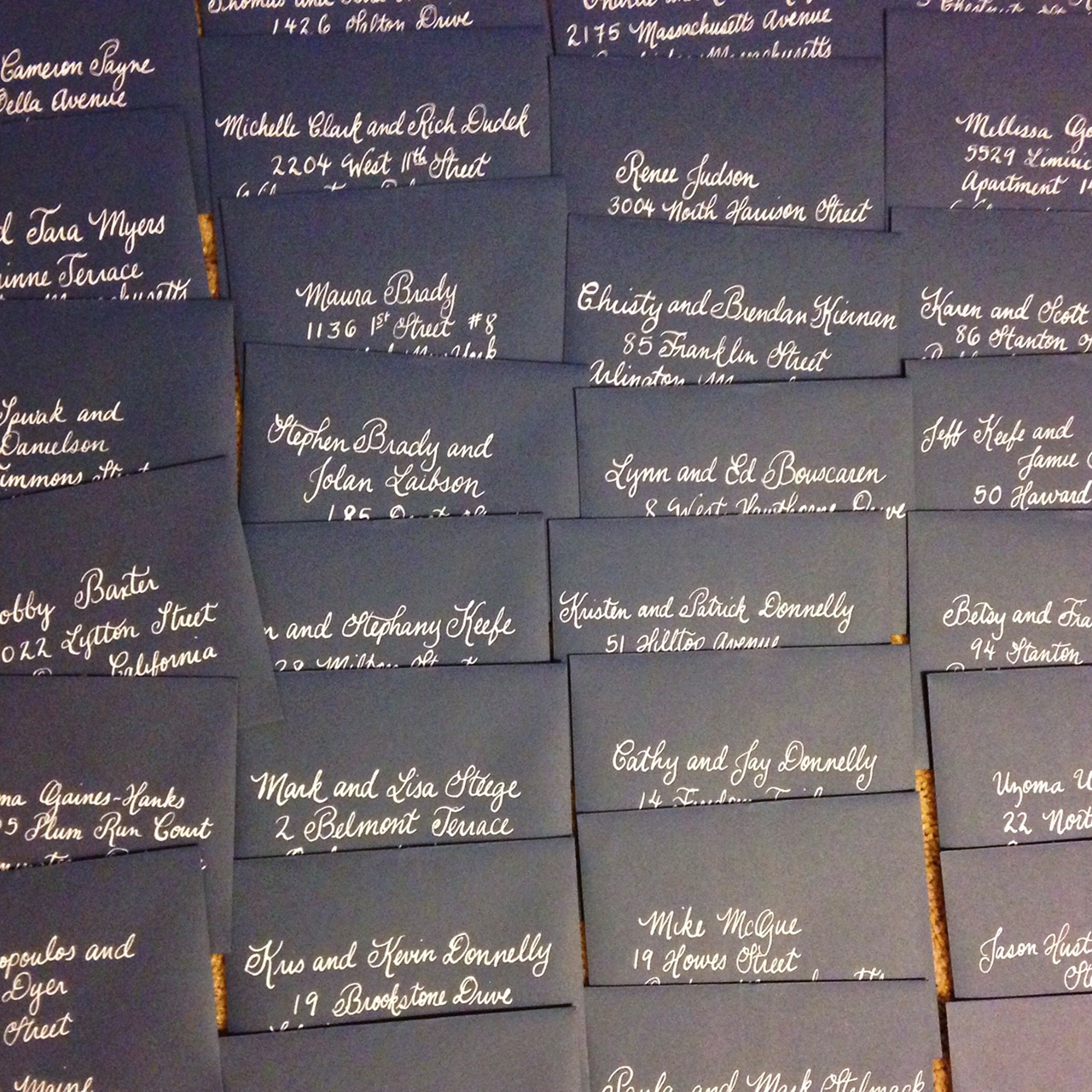 Navy envelopes with white calligraphy :: Opaline Lettering