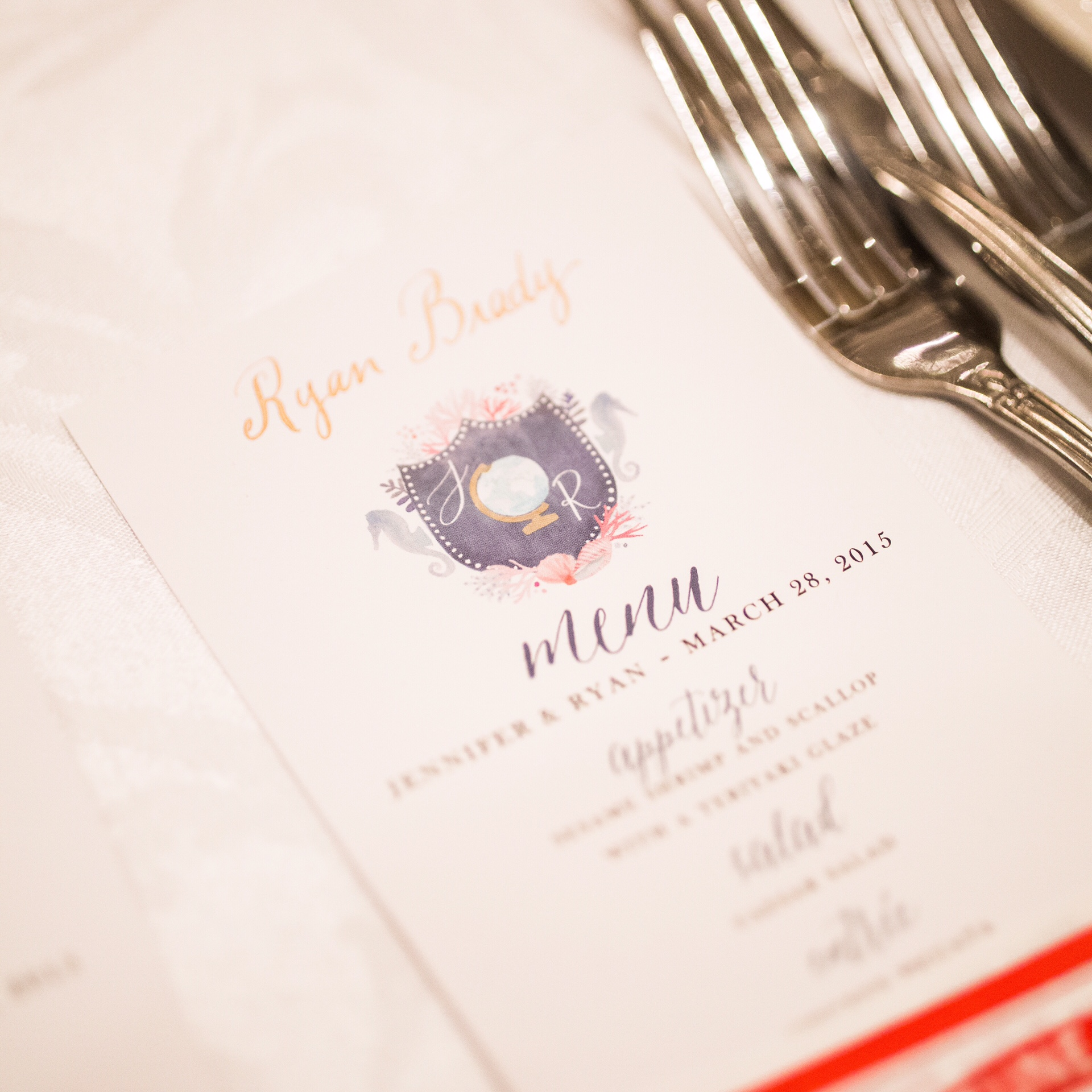 Menu with gold calligraphy :: Opaline Lettering