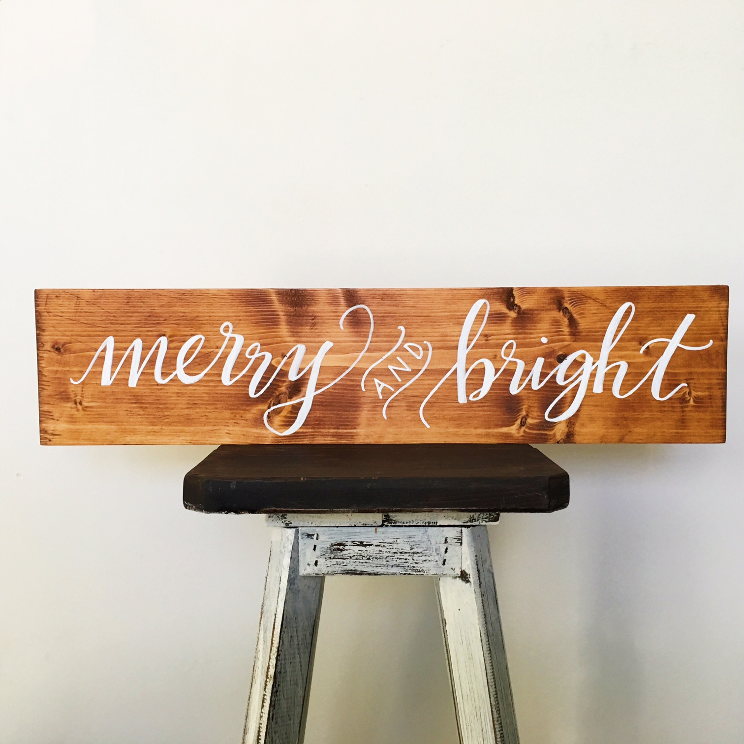 Wood sign :: merry and bright :: Opaline Lettering