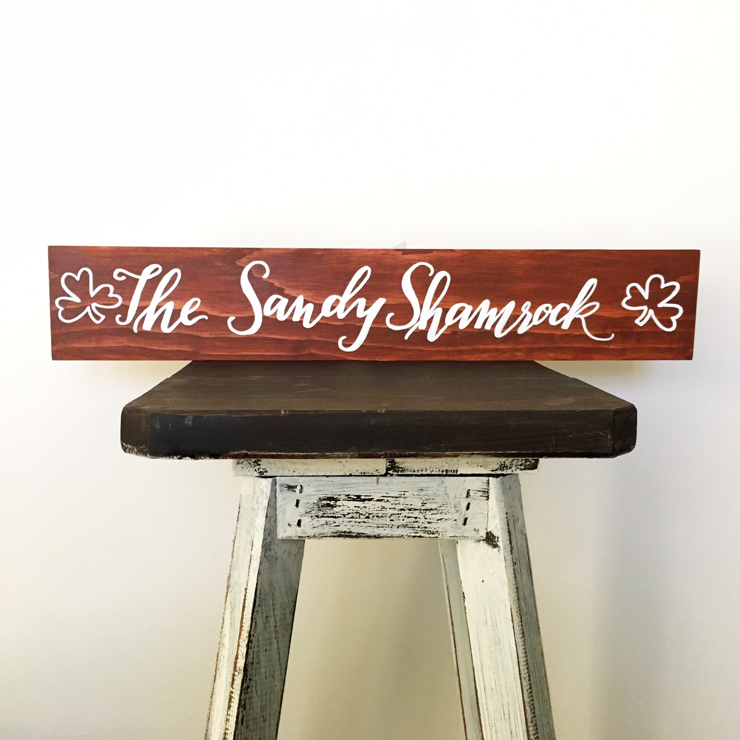 Wood sign :: Personalized with shamrocks :: Opaline Lettering