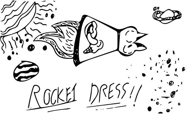 Wouldn't you want a dress that can take you to space?  I know I would.  #space #rockets #star #fashion #icecream #cosmos