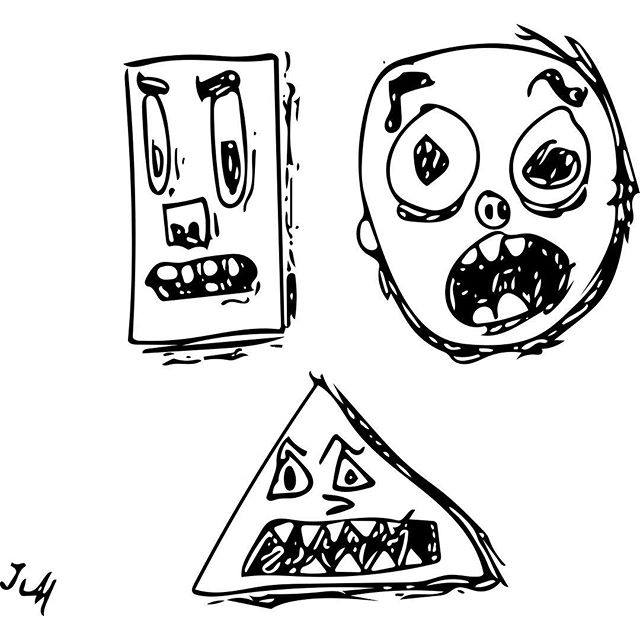 Mr. Rectangle, Mr. Circle, and Mr. Triangle. The result of a horrible and unfortunate experiment in space. Luckily the cosmic catastrophe was contained.  Due to the returning astronauts seeping caustic chemicals and being horribly disfigured,  they now live underground.  #doodle #drawing #shapes #adobeshape #space