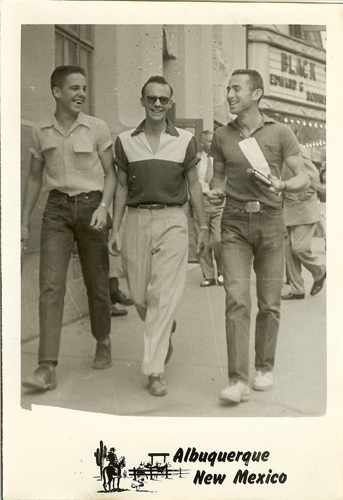 Leach, on the far right, with two friends in the early 1950s.