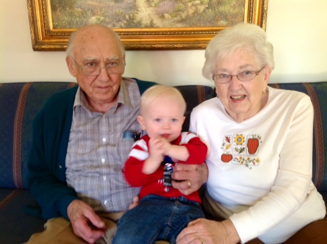 Roland and Earlene pose with their only great-grandchild, Ryan Davis, who will be 5 years old in June 2017.