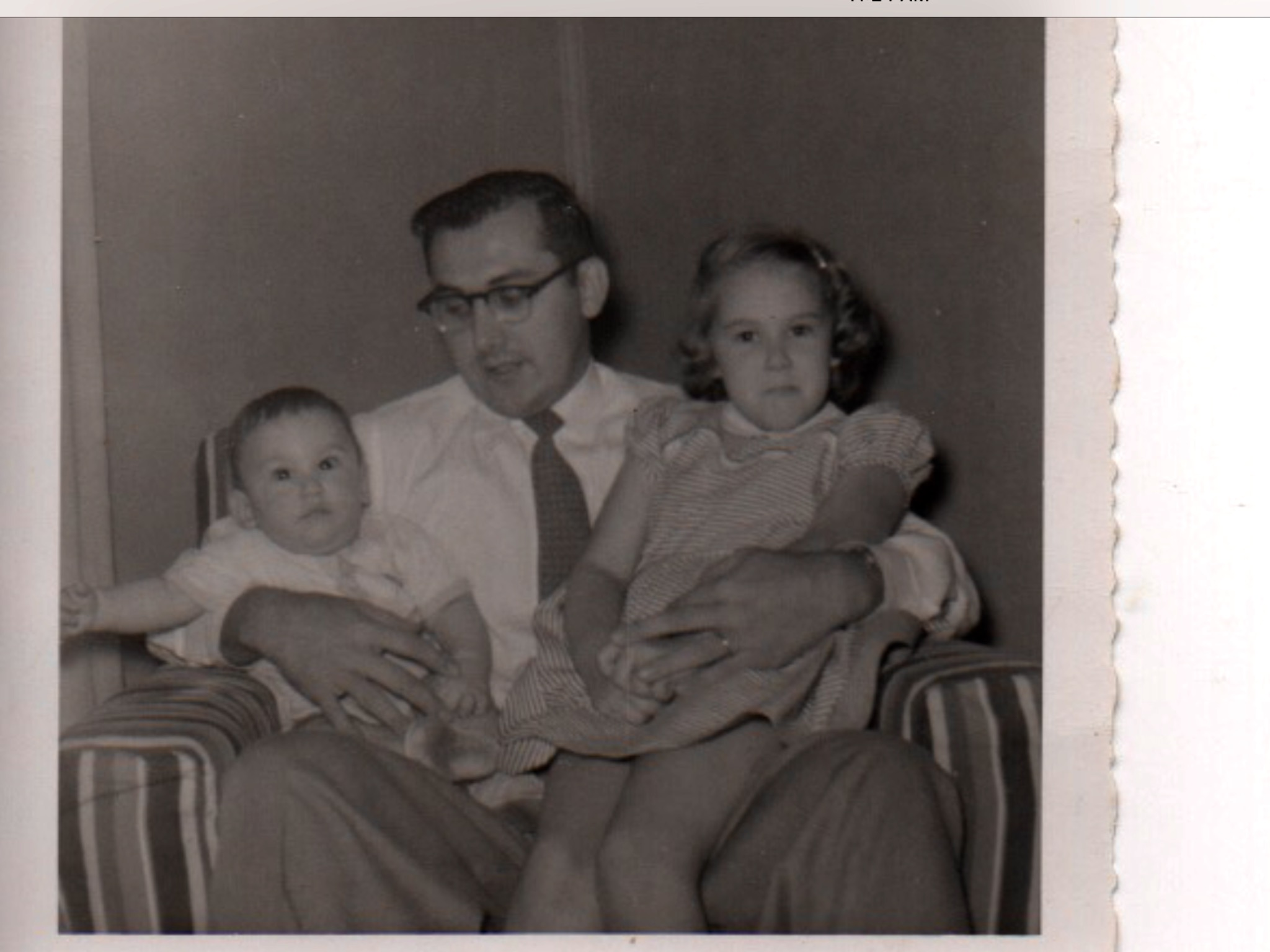 Roland with the two Davis children, Skip (a junior) and Sherry, in the late 1950s.