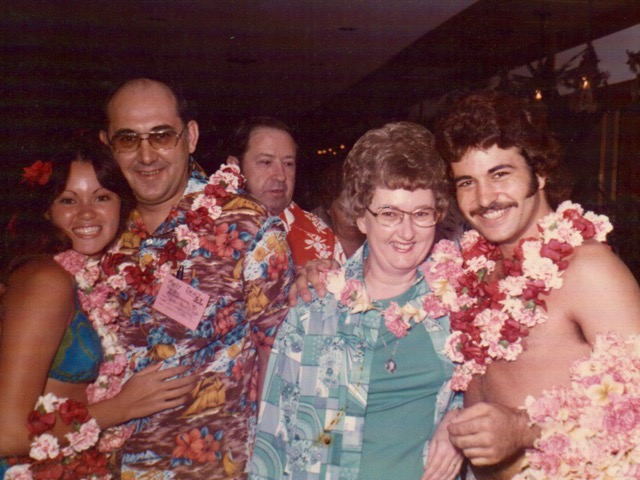 Earlene and Roland being greeted at the airport during a trip to Hawaii in January 1976. Hawaii is Earlene's favorite place they've been.