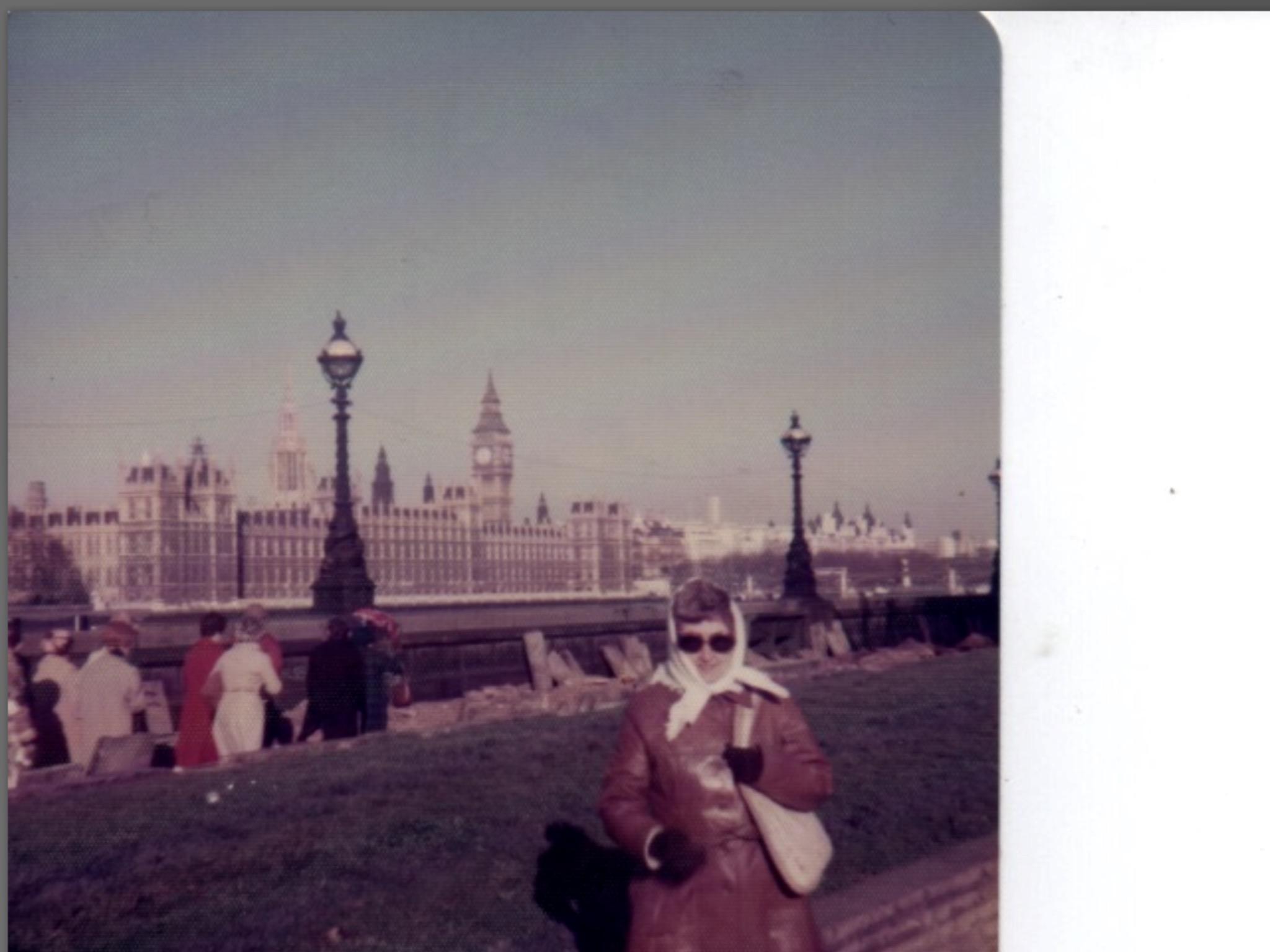 Earlene looking chic in London in January 1977.