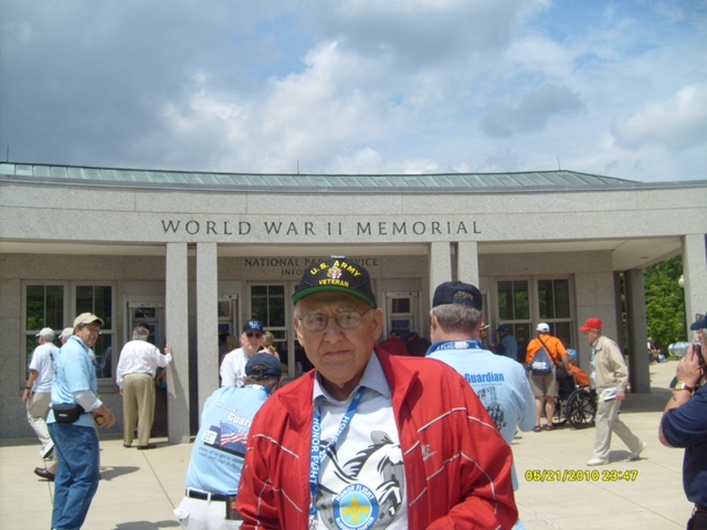 Roland in front of the World War 2 Memorial in Washington, D.C.