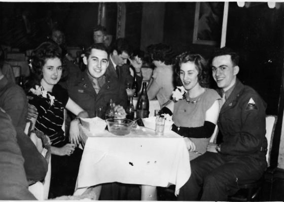 Earlene and Roland Davis with Don Bortner (the stand-in best man at their wedding) and his date at a Sunday tea dance Club Madrid in downtown Louisville, Kentucky. They still email back and forth with Don almost daily.